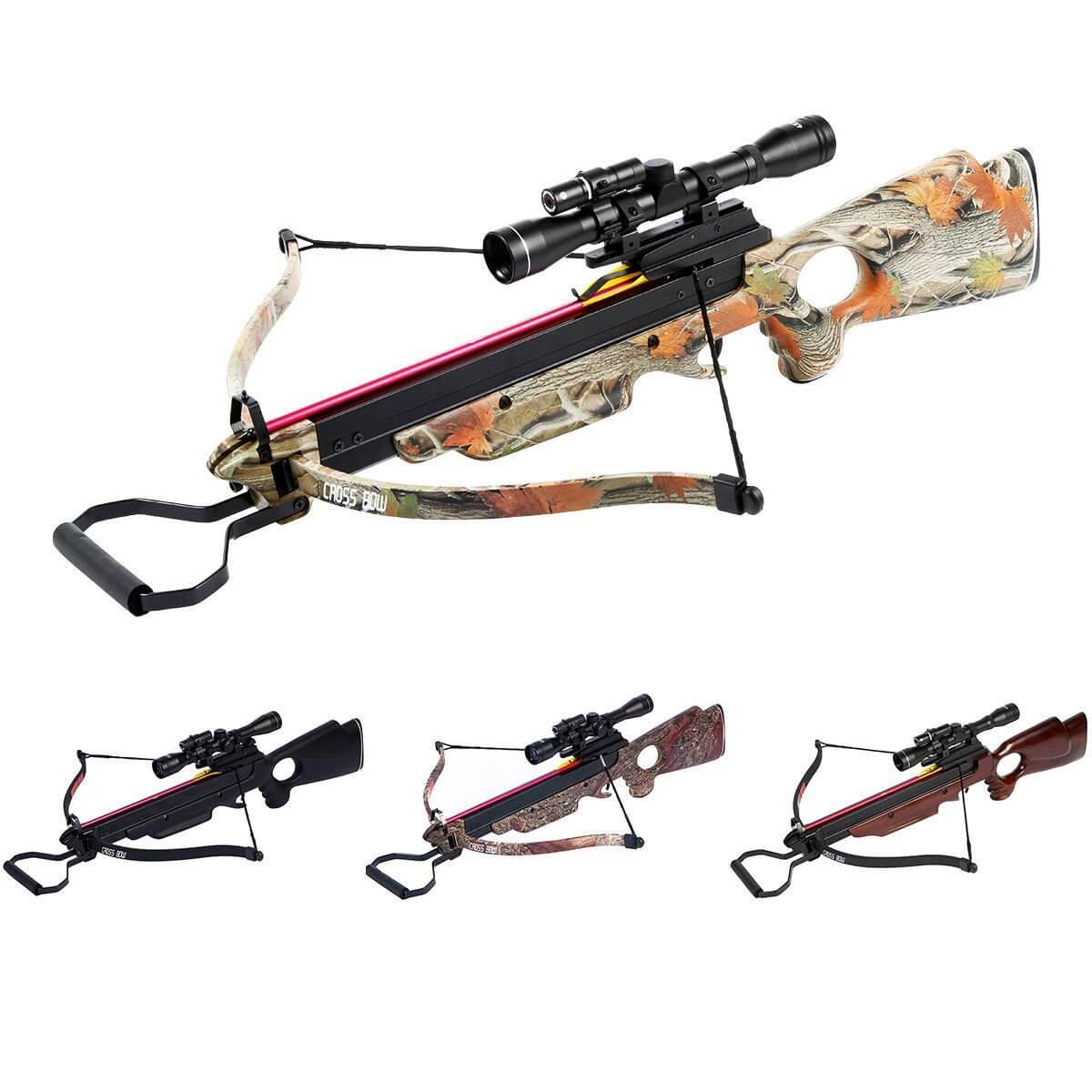 150 lbs black/wood/camouflage hunting crossbow