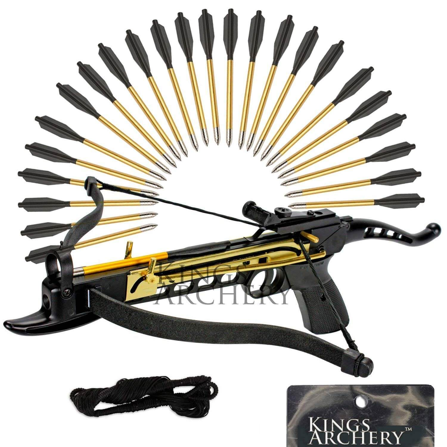 KingsArchery self cocking crossbow bundle with adjustable sights and spare