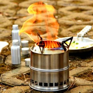 EIALA Potable Stainless Steel Wood Burning Camping Stove,Solidified Alcohol Stove Outdoor