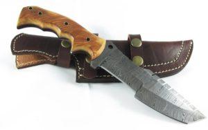 Handmade Damascus Sub Hilt Olive Wood Bushcraft Tactical